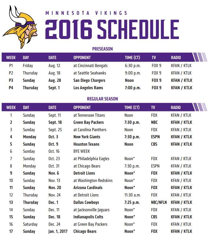 Vikings have 4 prime time games, home opener on KARE 11 | KARE11.com