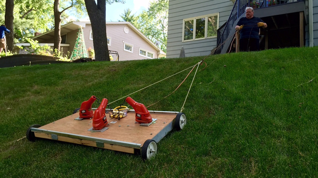 owner of u0027backyard from hell u0027 invents his own mower kare11 com