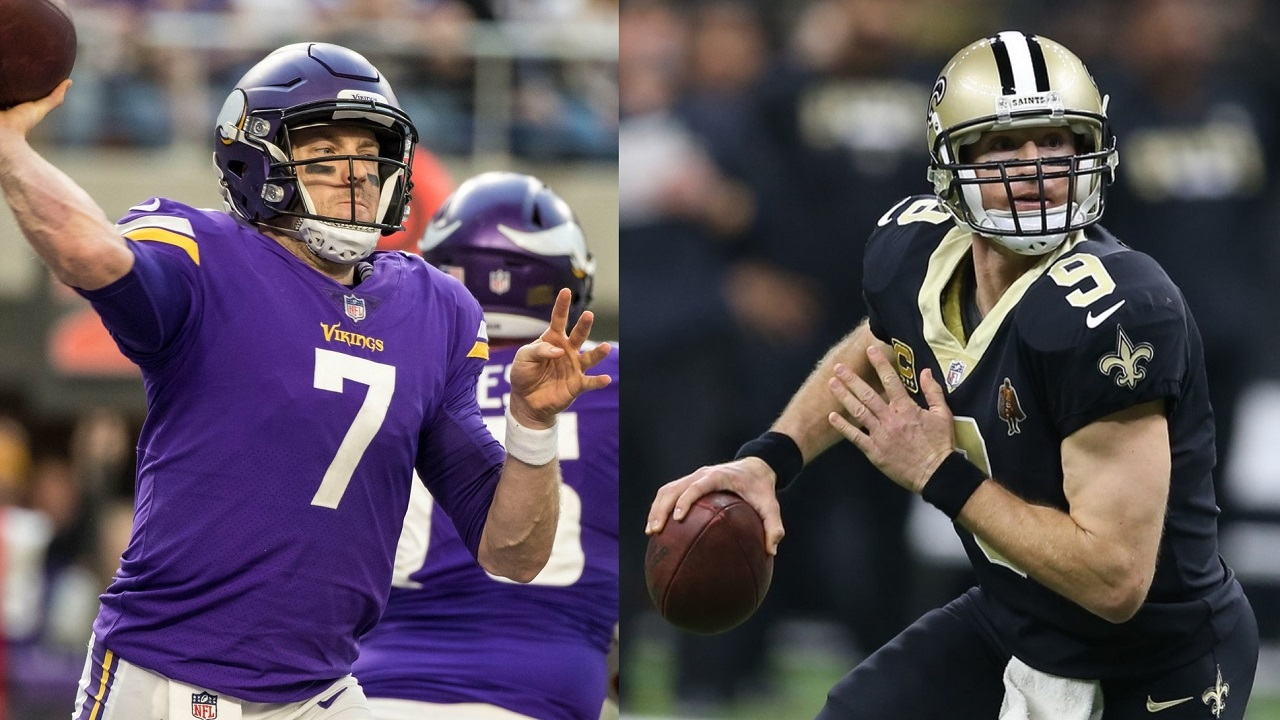 Image result for minnesota vs new orleans playoffs keenum and brees